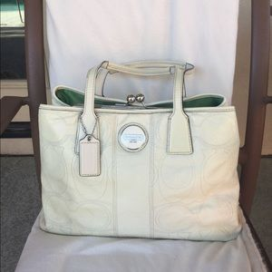 Coach Patent Ivory Leather Purse